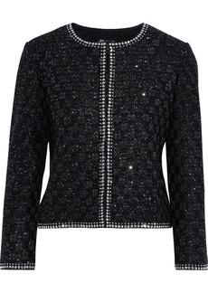 St. John Woman Studded Sequined Tweed Jacket Black