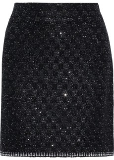 St. John Woman Studded Sequined Tweed Mini Skirt Black