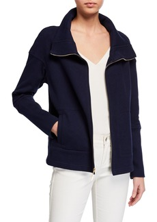 St. John Stand Collar French Terry Rib Knit Jacket