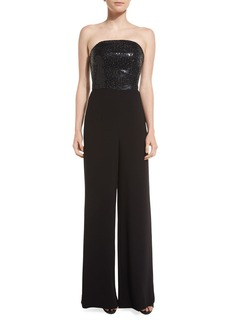 St. John Strapless Sequined Wide-Leg Jumpsuit