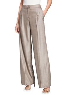 St. John Stretch Birdseye Wide-Leg Pleated Trousers