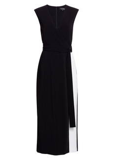 St. John Stretch Cady Faux Wrap Midi Dress