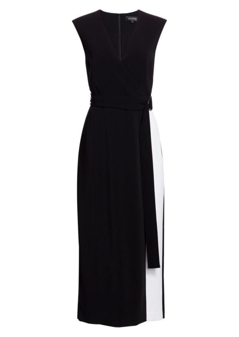 St. John Stretch Cady Faux Wrap Midi Dress