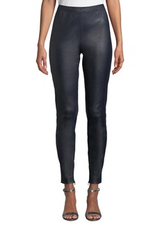 St. John Stretch Napa Leather Cropped Leggings w/ Ankle Zippers