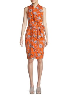 St. John Stretch-Silk Floral Wrap Dress