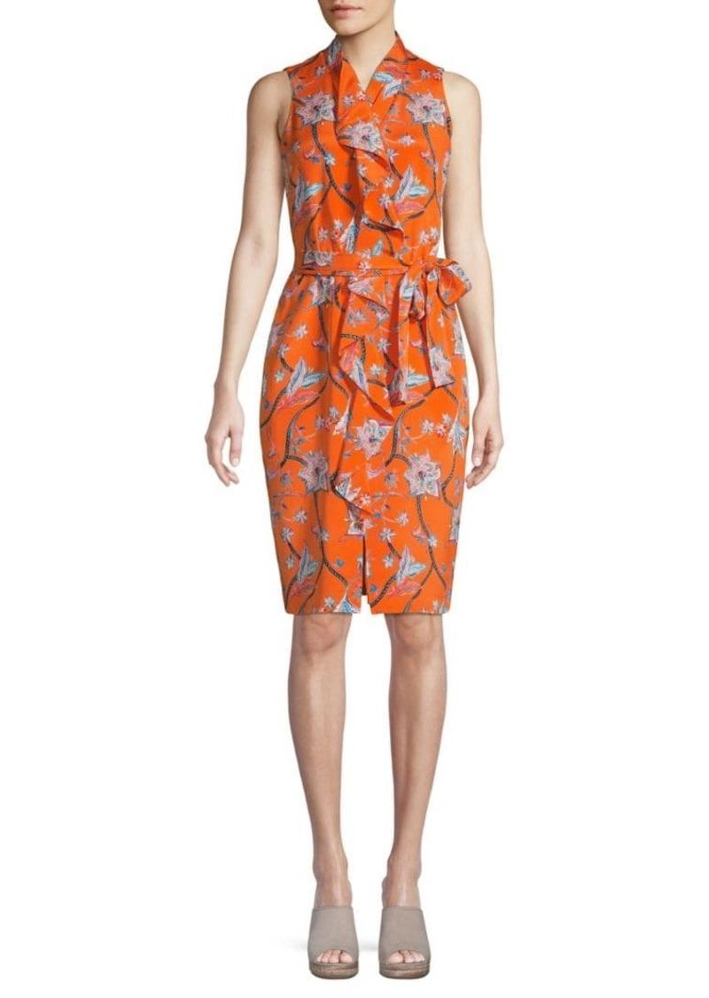 St. John Stretch-Silk Floral Wrap Dress
