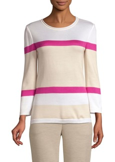 St. John Stripe Float Jacquard Knit Sweater