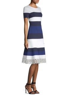 St. John Stripe-Knit A-Line Dress