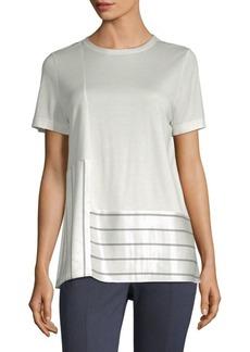St. John Stripe Satin Panel T-Shirt