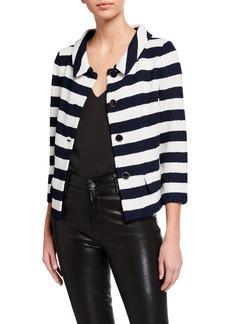 St. John Striped Boucle 3/4-Sleeve Wool-Blend Jacket