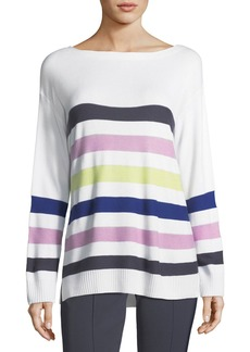 St. John Striped Knit Pullover Sweater