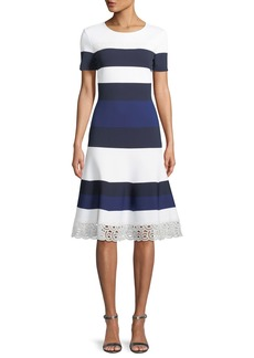 St. John Striped Luxe Sculpture Knit Lace-Trim Dress