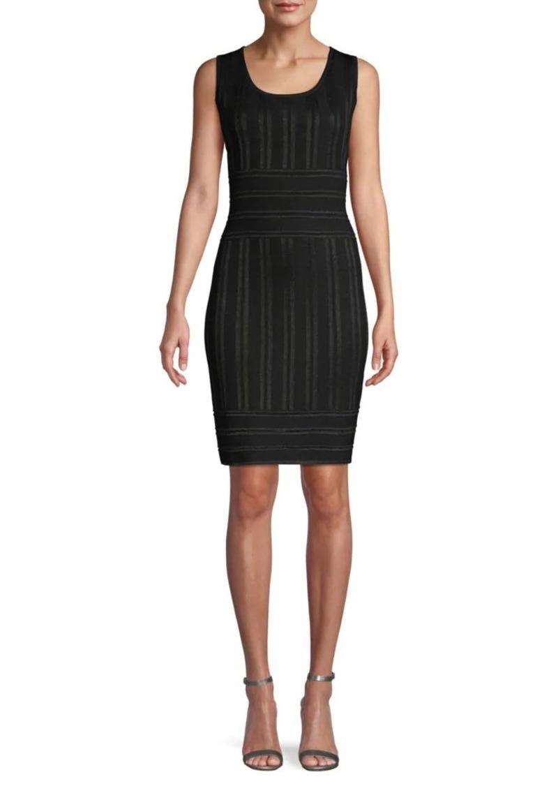 St. John Striped Sleeveless Sheath Dress