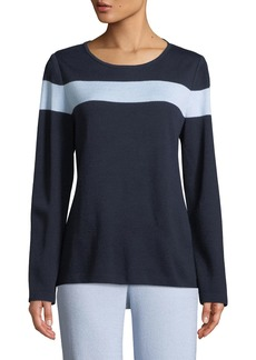St. John Striped-Yoke Santana-Knit Top