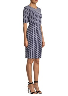 St. John Swirl Jacquard-Knit Sheath Dress