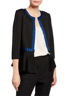 St. John Tangier Knit 3/4-Sleeve Zip-Front Peplum Jacket w/ Novelty Trim