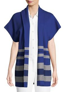 St. John Textured Inlay Knit Shawl-Collar Jacket