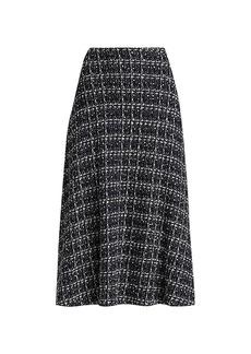St. John Textured Knit A-Line Skirt