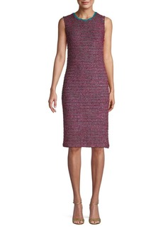 St. John Textured Sleeveless Sheath Dress