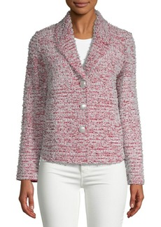 St. John Textured Wool-Blend Button Front Tweed Jacket