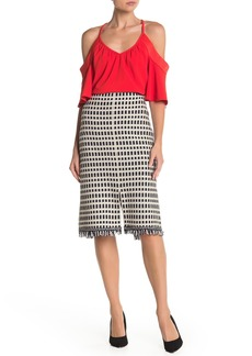 St. John Thatched Grid Knit Skirt