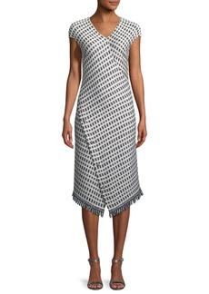 St. John Thatched Grid Knit V-Neck Dress