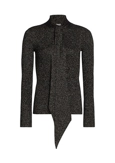 St. John Tie-Neck Shimmer Sweater