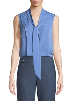 St. John Tie-Neck Silk Double Georgette Shell