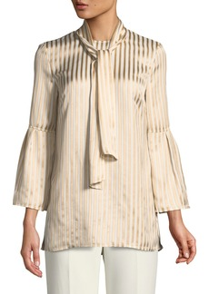 St. John Tie-Neck Striped Satin Twill Bell-Sleeve Blouse