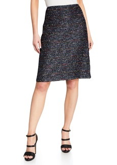 St. John Tweed Knit Boucle A-Line Skirt