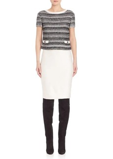 St. John Tweed Knit Double-Layer Dress