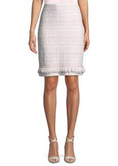 St. John Tweed Pencil Skirt w/Fringe Trim