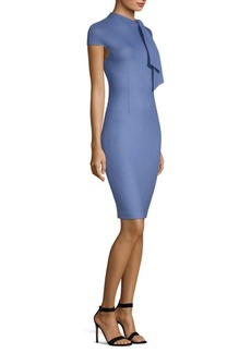 St. John Twill-Knit Tie-Neck Dress