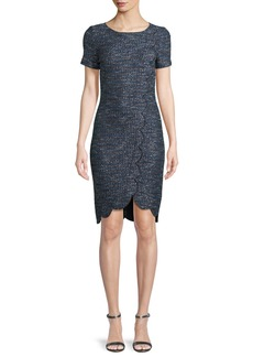 St. John Twinkle Textured-Knit Scallop Dress