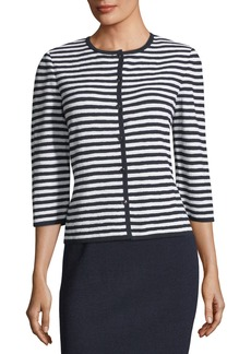 St. John Two-Toned Striped Knit Cardigan