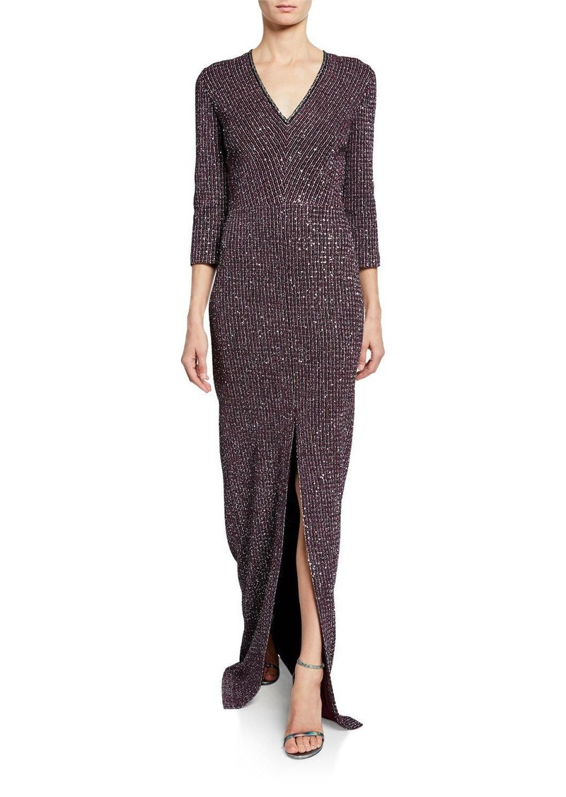 St. John V-Neck Fine Sequin Tweed Gown with Front Slit