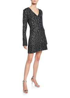 St. John V-Neck Long-Sleeve Bejeweled Evening Texture Knit Dress w/ Chain Trim