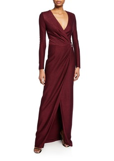 St. John V-Neck Long-Sleeve Shimmer Float Knit Gown w/ Waist Drape