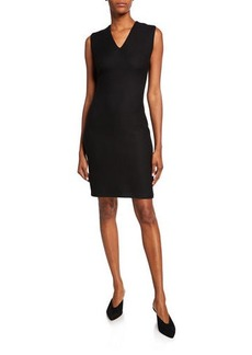 St. John V-Neck Sleeveless Refined Textured Float Knit Dress w/ Piping