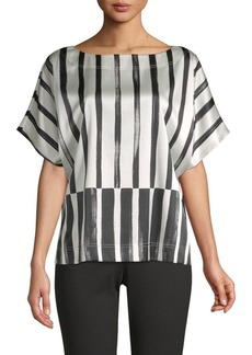 St. John Variegated Stripe Stretch-Silk Top