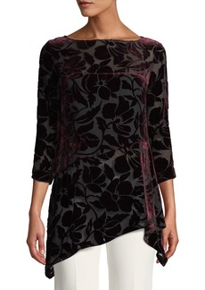 St. John Velvet Floral Burnout Uneven Top