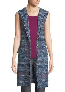 St. John Watercolor Tweed Fringe Vest