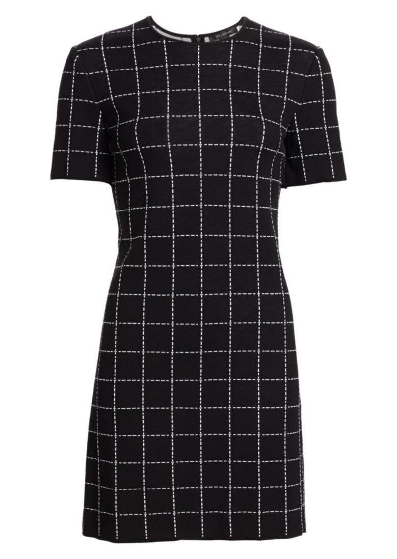 St. John Windowpane Jacquard Stretch Knit Dress