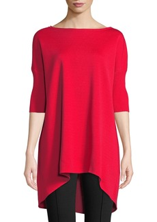 St. John Wool-Blend Dolman-Sleeve Tunic Sweater