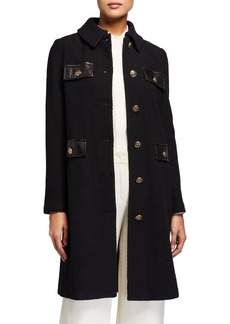 St. John Wool-Blend Topper Jacket with Faux-Leather Pockets