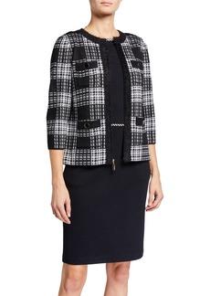 St. John Yorkville Knit 3/4 Sleeve Wool-Blend Jacket