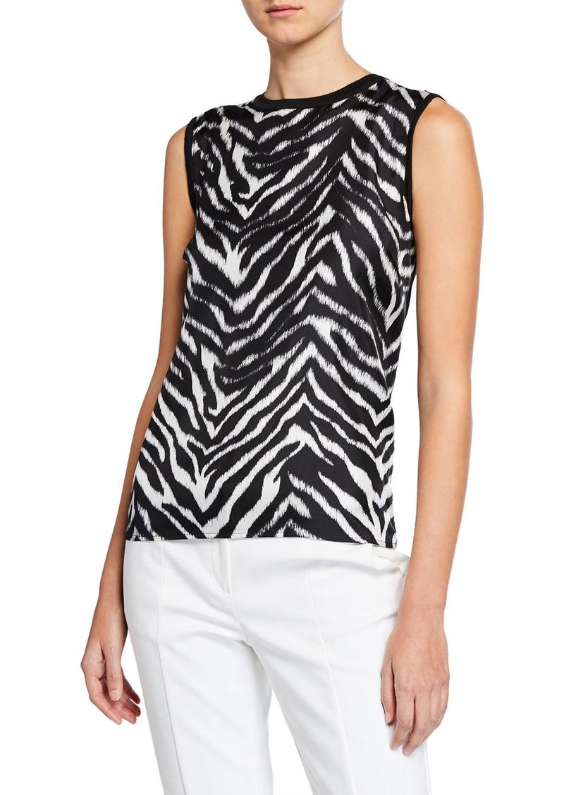 St. John Zebra-Front Knit Pullover Top