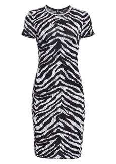 St. John Zebra Jacquard Midi Dress