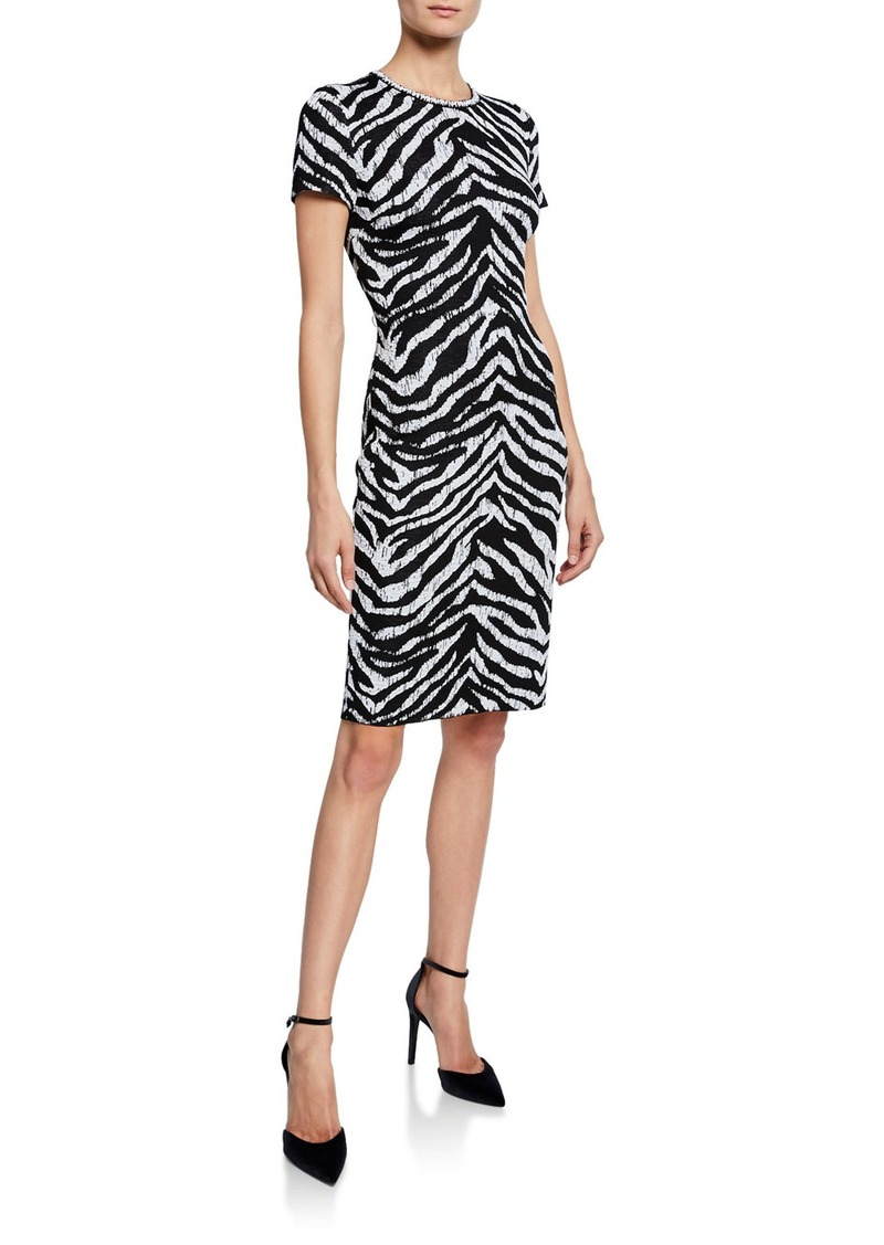 St. John Zebra Jacquard Short-Sleeve Knit Dress