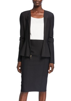 St. John Zip-Front Sculpted Milano Knit Fit-&-Flare Peplum Jacket